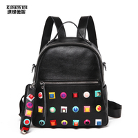 Colorful Rivets Backpack Women Mini Shoulders Bag Female Leather Backpacks Famous Brand Designer Luxury Sac A