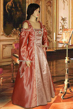 Renaissance or Medieval Style Dress Handmade Rose Orange Coral Gothic Dresses