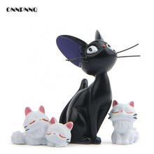 3pcs/set Cartoon Animal Kawaii Black Cat White Cat Resin Figurines Crafts Wholesale Gifts Child Doll Desk Accessory Home Decor 2018 creative decoration cute animal cat resin children cartoon desk lamp cartoon cat desk lamps bedroom creative for home
