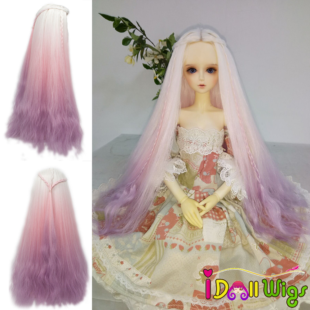 High-temperature Fiber Long Afro Curly White Purple Ombre Color Wig For 1/3 1/4 BJD/SD/Pullip Dolls