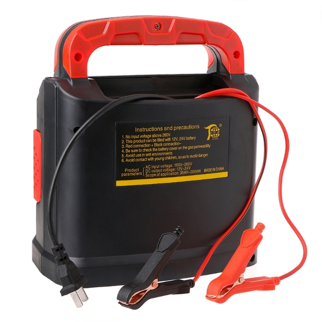 350W 14A AUTO Plus Adjust LCD Battery Charger 12V-24V Car Jump Starter Portable
