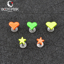 BODY PUNK Lovely 5 PCS/Lot 316L Surgical Steel Star and Heart Labret Piercing Cartilage Tragus Ear Lip Piercing Jewelry
