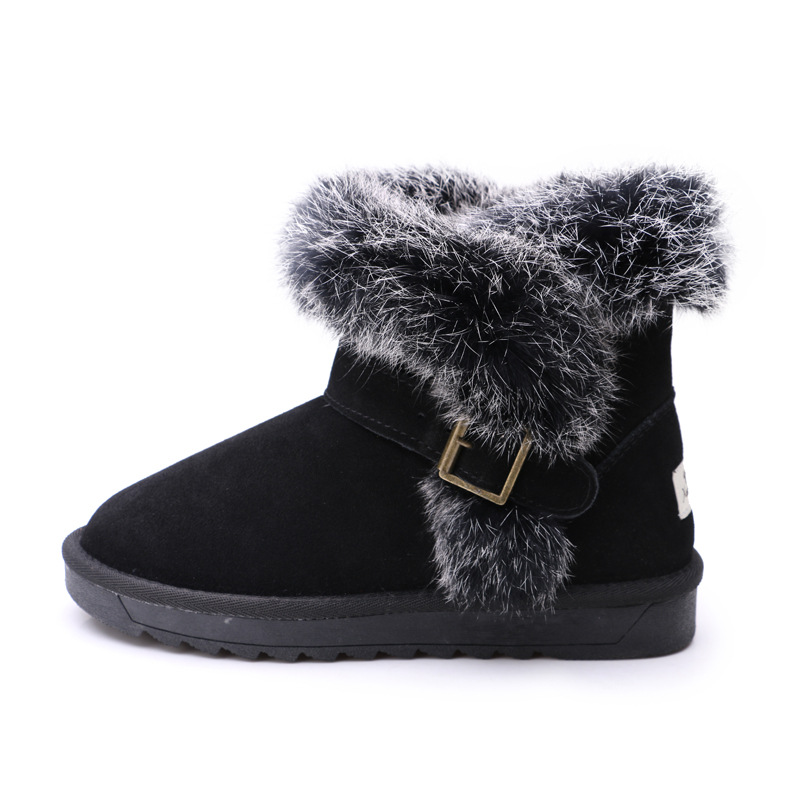 ФОТО Classic Genuine Leather Women Snow Boots Rabbit Fur Female Mid-calf Cow Winter Warm Shoes Flat botas feminina outono inverno