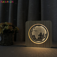FULLOSUN Modern Wood Acrylic Table Lamp Warm White LED Desk Light 3D Earth Africa Bedroom Bedside