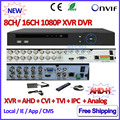 1080 P AHD DVR 16CH Híbrido para H M 960 H D1 H.264 cámara AHD 8 Canales DVR grabador P2P NVR de ONVIF 3MP IP 2.4 cámara de Red IP cámara