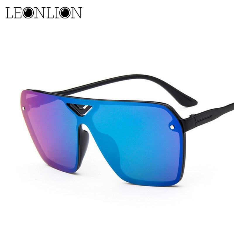 LeonLion 2019 Reflective Siamese Sunglasses Women Designer Mirror Luxury Man/Women Sun Glasses Classic Vintage UV400 Outdoor