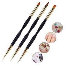 2 IN 1 Uv Gel Brush For Manicure, 7/9/11mm Thin Stripe Nail Brush