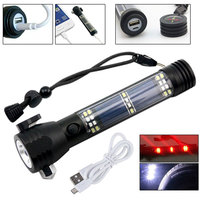 7-Mode 10in1 Multifunction Rechargeable Solar Power LED Flashlight Emergency Torch Window Breaker Seat Belt Cutter Compass