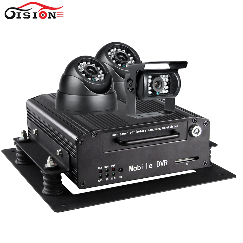500GB Hard Disk Vehicle Dvr Kits 4CH Video Input GPS Mobile Car Dvr With Indoor /Outdoor Night Vision IR Camera 3PCS