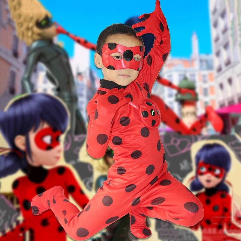 Kids Adult Miraculous Ladybug Cosplay Costume With Mask Ladybug Romper Costume Suit Halloween Women Ladybug dress multifunction cosplay bike skeleton mask costume halloween cs mask cycling motorcycle paintball half face mask winter fa mx8