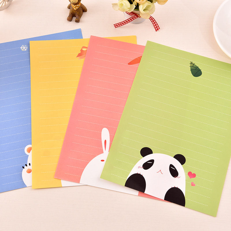 Coloffice 6 Letter And 3 Envelopes Paper Cartoon Animal Cute Creative Greeting Card Letter Paper Storage Kawaii Student Supplies