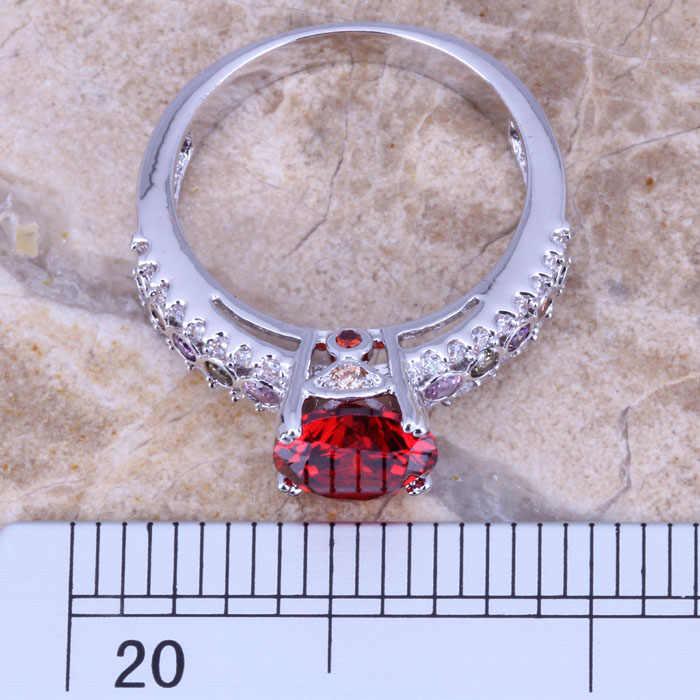 Graceful Multicolorสีแดงโกเมนเงินผู้หญิงเครื่องประดับแหวนขนาด 6 / 7 / 8 / 9 R0647