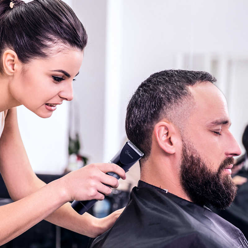 HATTEKER Professional Electric Hair Clipper Ceramic Blade Waterproof Hair Trimmer LED Display Haircut Machine for Men 69001