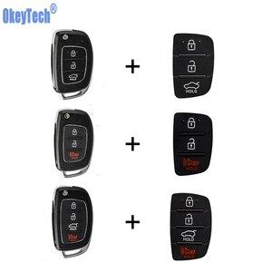 OkeyTech Flip Folding Car Key Shell For Mistra Hyundai HB20 SANTA FE IX35 IX45 Accent I40 Solaris 3 4 Buttons with Button Pad