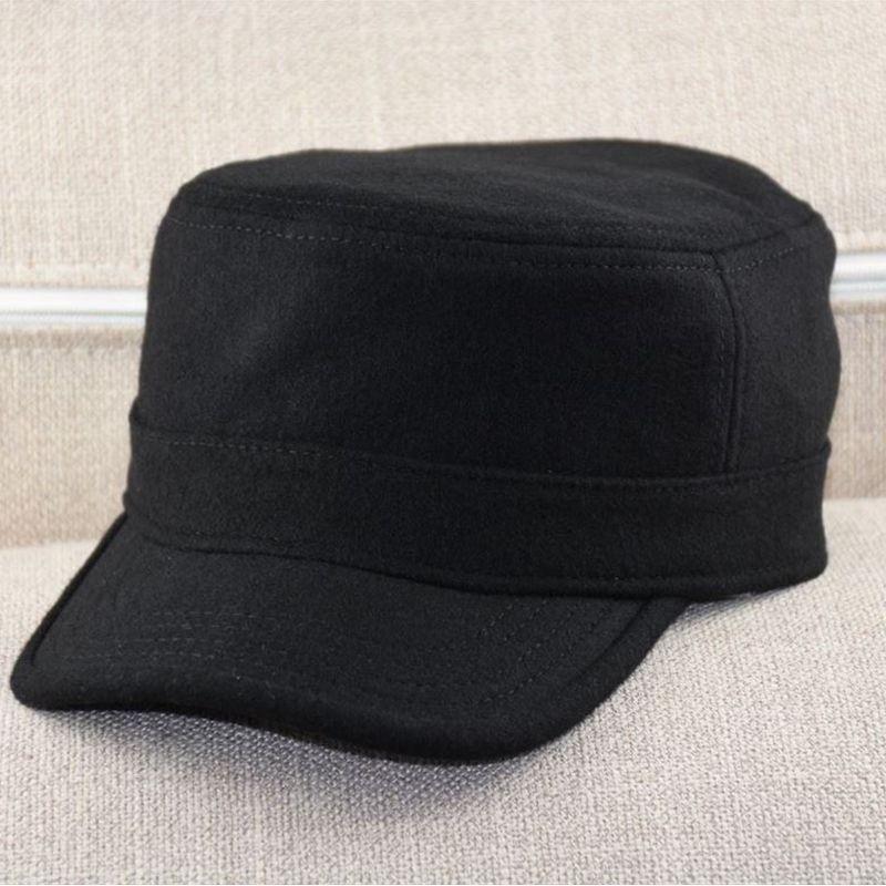 2019 Winter Men Flat Cap Dad Solid Color Black Wool Army Hat Big Bone Man Plus Size Felt Military Caps 55-59cm 60-64cm