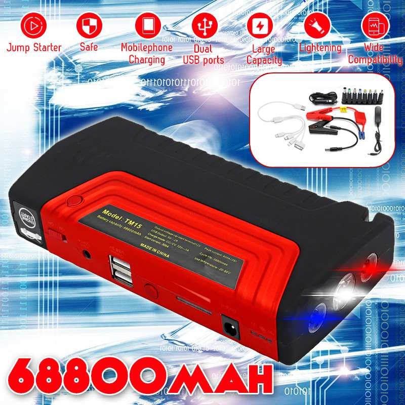 68800mAh 12V 600A Multifunction Portable Jump Starter USB  Power Bank Car Battery Booster Charger Starting Device