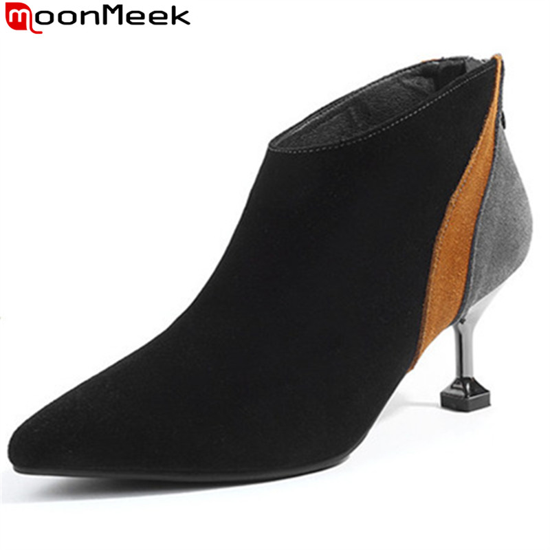 MoonMeek fashion pointed toe prom shoes woman mixed colors ladies boots suede leather high heels ankle boots womenMoonMeek fashion pointed toe prom shoes woman mixed colors ladies boots suede leather high heels ankle boots women