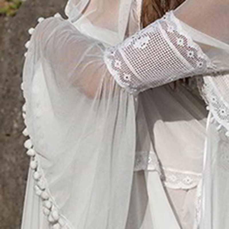 Sexy fête blanc dentelle longue Robe élégante soirée 2 pièce femmes voir à travers dos nu été Boho Robe profonde V mousseline de soie Maxi robes