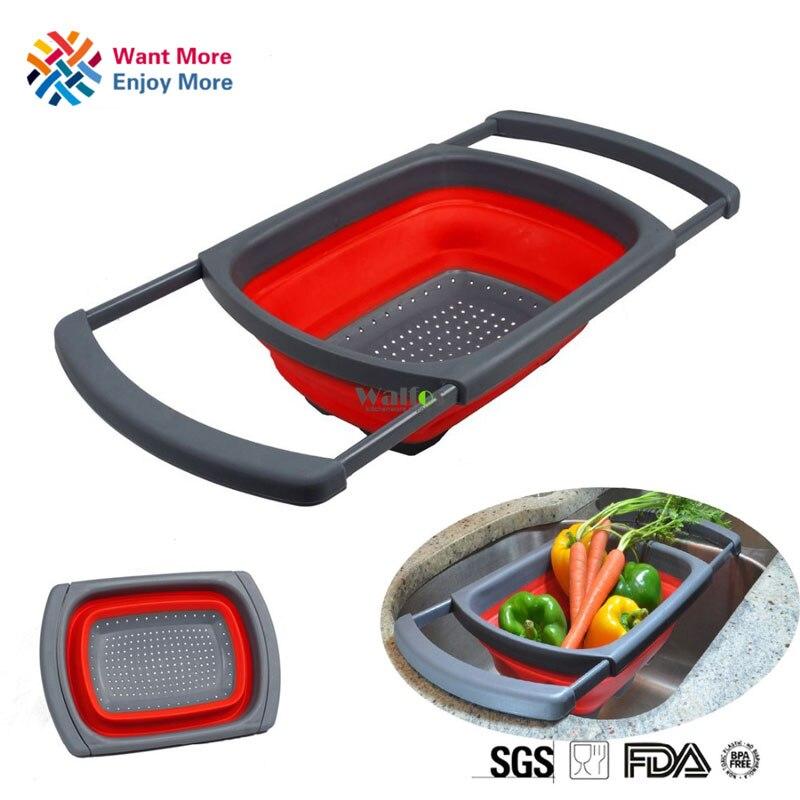 1pc Kitchen Collapsible Silicone Colander Strainer Sink Basket funnel Cooking Water Drainager kitchen basket strainer gadget