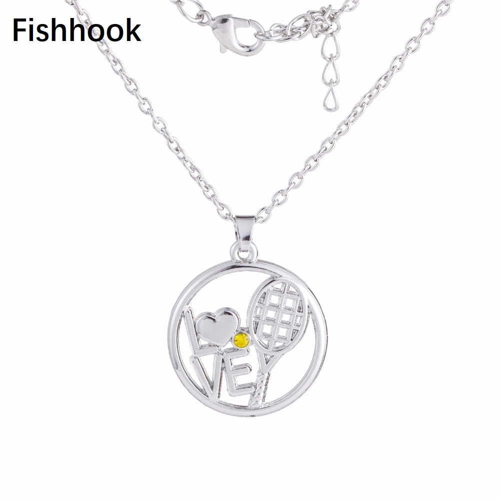 Fishhook Fashion Sporty Jewelry Love Tennis Racket Pendant Link Chain մանյակ