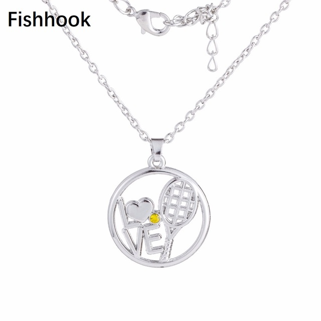 Fishhook fashion sporty jewelry love tennis racket pendant link fishhook fashion sporty jewelry love tennis racket pendant link chain necklace mozeypictures Gallery