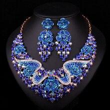 Moda Joyería Nupcial de La Boda Accesorios de Cristal Plateado del Oro Collar Pendiente Para la Fiesta de Las Novias Regalo de Dubai Para Las Mujeres