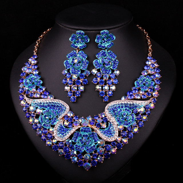 Fashion Bridal Jewelry Sets Wedding Necklace Earring For Brides Party Accessories Gold Plated Crystal Dubai Gift For Women