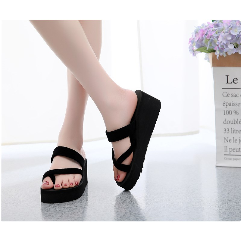 Cheap shoes summer sticky flowers season home feet indoor and outdoor foam comfortable flat high heel sandals casual beach flip in Flip Flops from Shoes