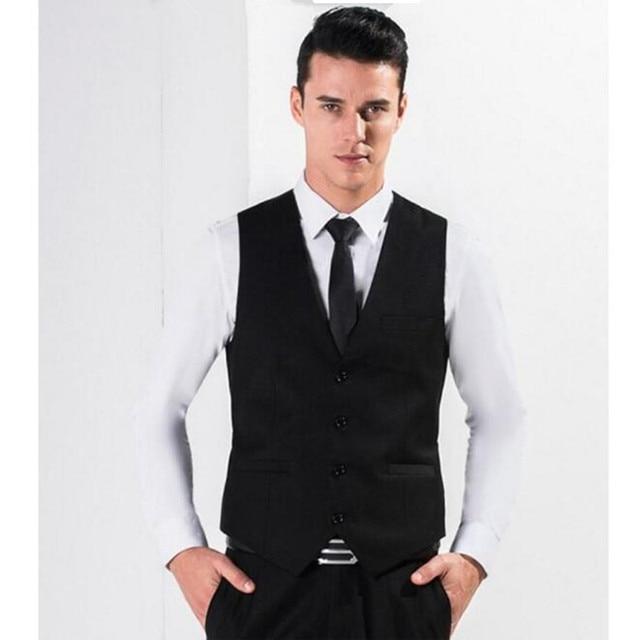 87b2bb466 De Color negro Hombres Traje Vestido Chalecos Cabida de Los Hombres Ocio  Chaleco Casual de Negocios