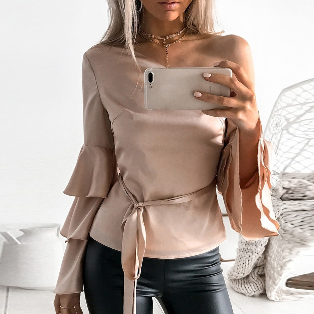 chic Women Autumn Off Shoulder Long Lotus Sleeve  Festivals Classics Comfort Shirt Loose Tops Blouse