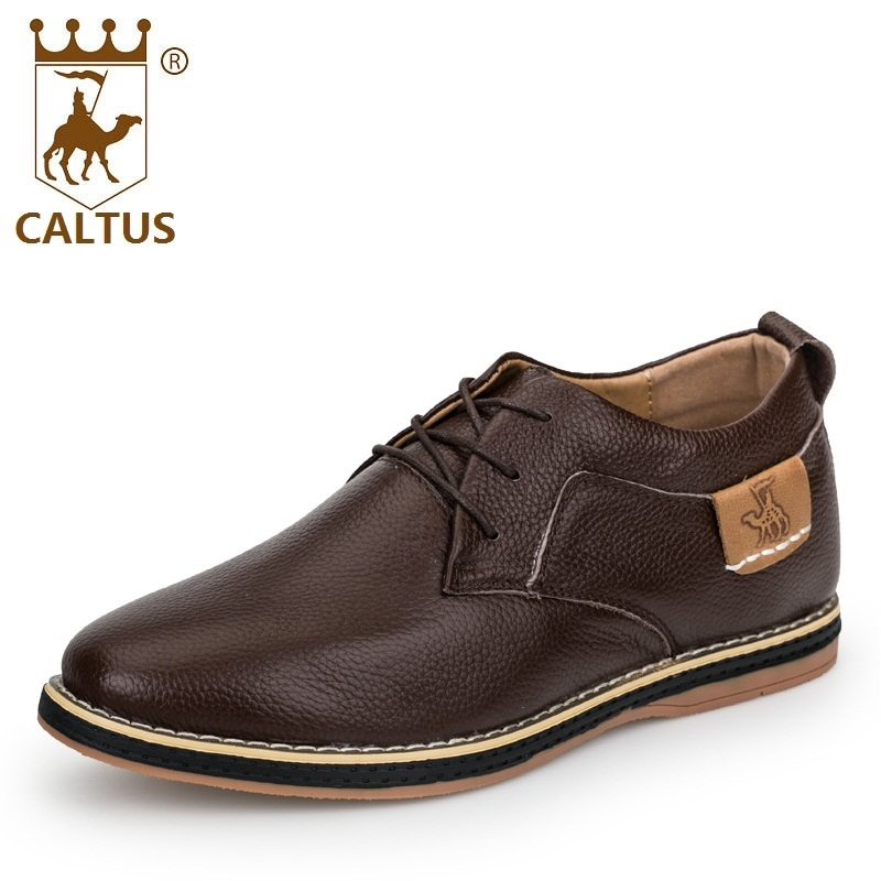 Caltus Dress Men Shoes 100% Genuine Leather Light Weight New Design Men Working Shoes Flats Height Increasing 6cm AA20573