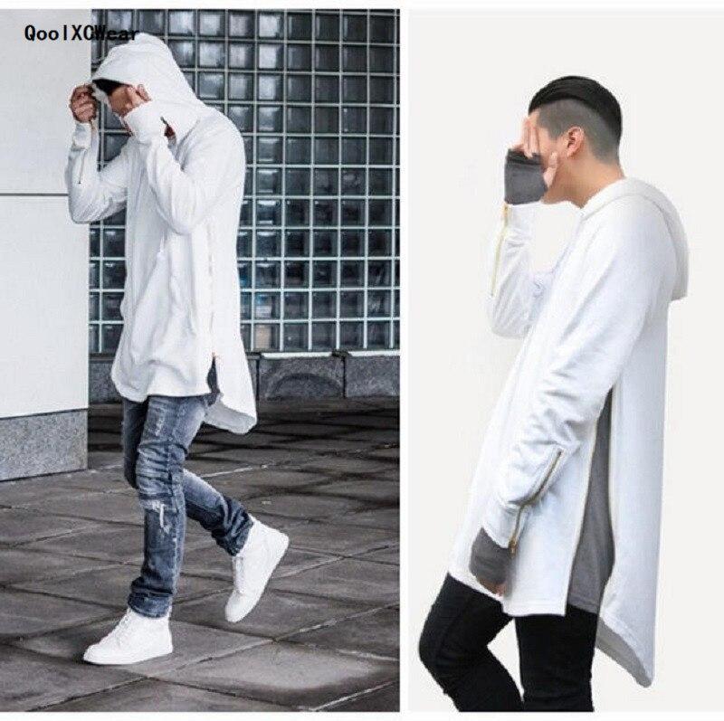 QoolXCWear British Style Men Hoodies Hip Hop Streetwear Long Zipper Arc Cut Extended Sweatshirts Kanye West Clothing