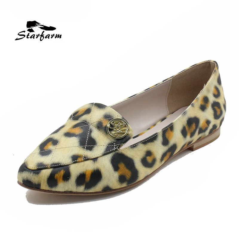 STARFARM Genuine Leather Shoes Leopard Women Shoes Ballet Flats Pointed Toe Slip-On Tenis Feminino 2017 2017 new fashion women summer flats pointed toe pink ladies slip on sandals ballet flats retro shoes leather high quality