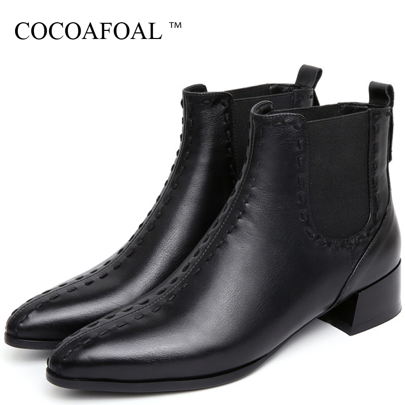 купить COCOAFOAL Women's Motorcycle Boots Genuine Leather Shoes Woman Ankle Boots Autumn Winter Genuine Leather Martin Chelsea Boots недорого
