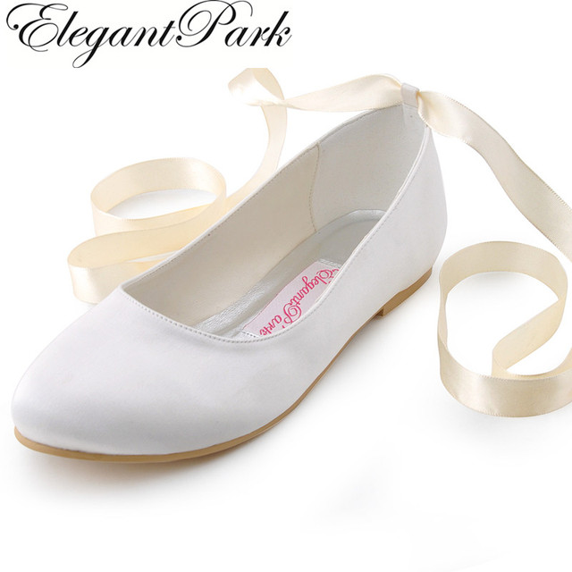 Ivory Ribbon Tie Wedding Shoes
