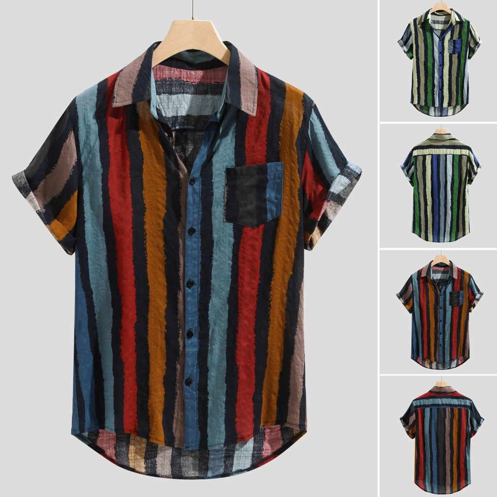 Harajuku Herren Lose Multi Farbe Streifen Klumpen Brust Tasche Kurzarm Runde Saum Shirts T Shirt Männer Camiseta Masculina
