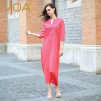 VOA Silk Crepe De Chine Embroider Long Dress Fashionable Vintage Lady Half Sleeve Solid Color Chinese