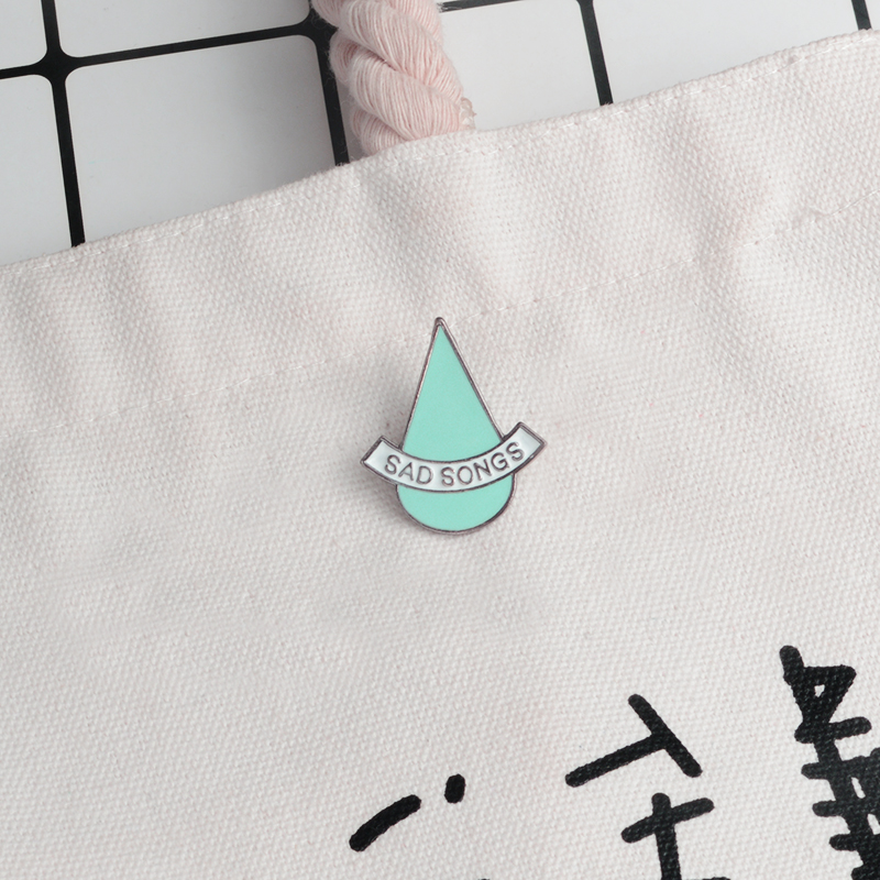 Blue Tears Sad songs Brooch Metal Enamel Pin Cartoon Brooches for Girl Boy T-shirt Coat Backpack Hat Pin Badges Accessories image
