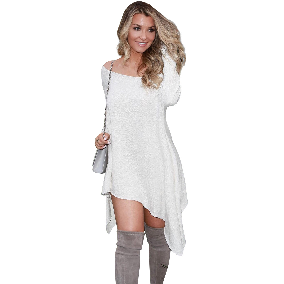 NEW Warm Knitted Dresses Sexy Women Mini Dress Off Shoulder Sexy Lace Bodycon Dresses Beach Party