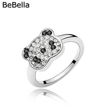 BeBella crystal ring panda ring made with Czech crystals for girls kids gift