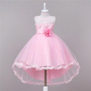 Princess Dresses Party Lace Long Tail tutu Dress Wedding girls Kids Dress For baby Girls clothes 2-10T,Children Clothing 3 color conjuntos casuales para niñas