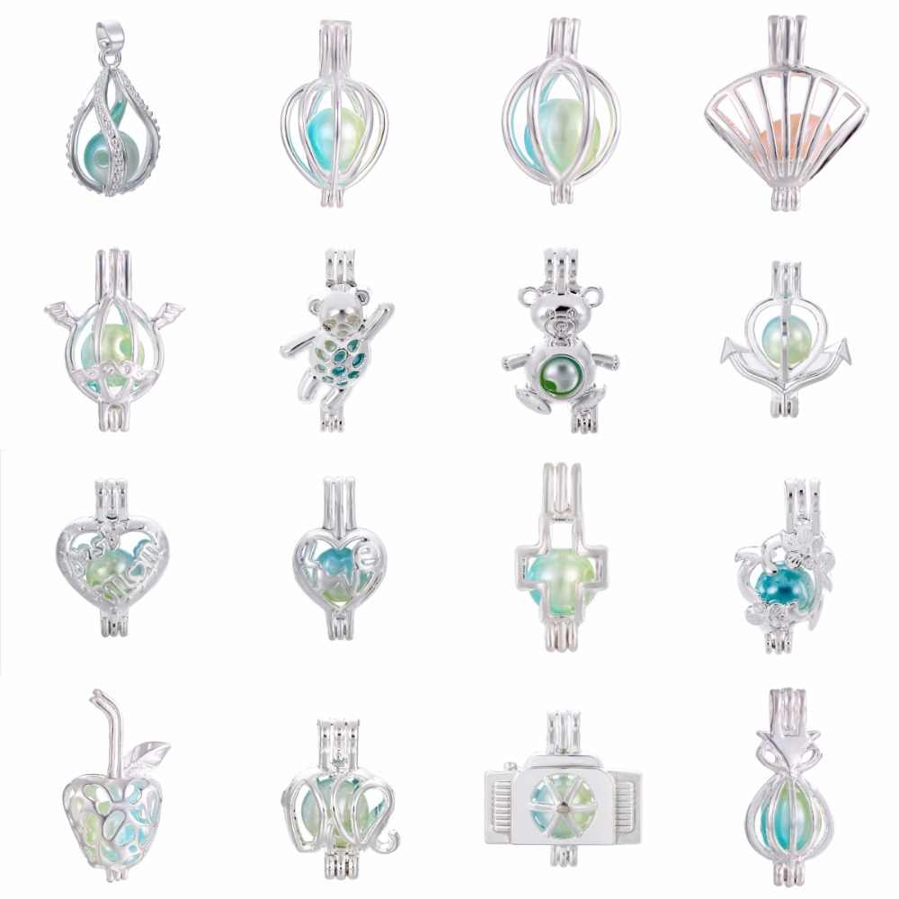1 pc Silver Twist Shell Cross Heart Pearl Cage Bead Cage Essential Oil Diffuser จี้เครื่องประดับจี้ทำ Oyster pearl
