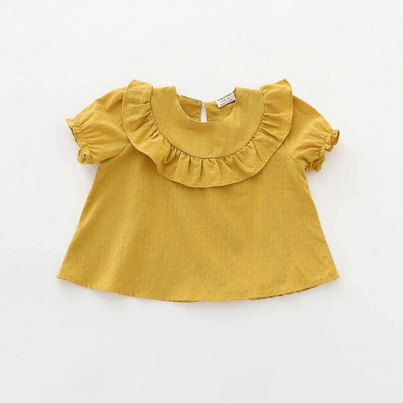 ใหม่มาถึงหญิงเสื้อฝ้าย O - Neck Ruffle เจ้าหญิงเสื้อแขนสั้นฤดูร้อนเสื้อผ้าเด็กทารกเด็กวัยหัดเดิน DQ848