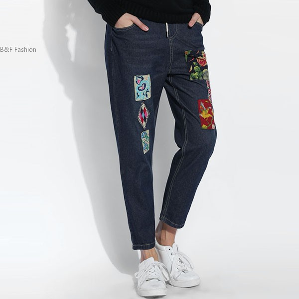 New Women Fashion Slim Embroidery Elastic Waist Casual Patchwork Jeans