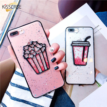 KISSCASE Silicon Case for iPhone 6 7 8 plus Case Cover Silicon Transparent Pink Glitter Cute Quicksand For iPhone 6S 7 8 Fundas