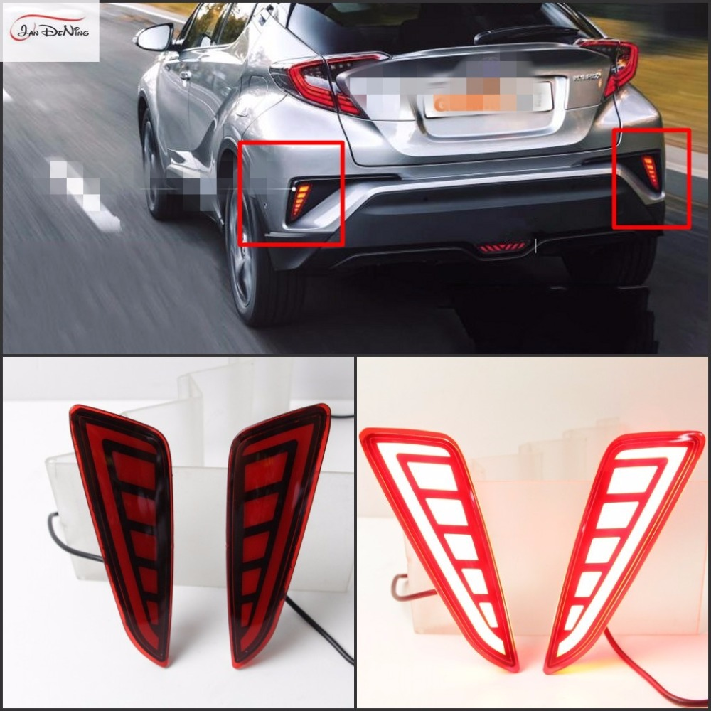 JanDeNing Car LED Light-Guide Rear Bumper Side Grille LED Fog Light Lamp DRL Daytime Running Lights For 2016-2017 Toyota CHR for opel astra h gtc 2005 15 h11 wiring harness sockets wire connector switch 2 fog lights drl front bumper 5d lens led lamp