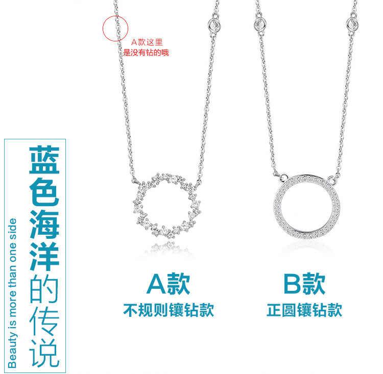 925 Sterling Silver Zirconia Circle Necklaces & Pendants Chain Necklace Jewelry Collar Colar de Plata sterling-silver-jewelry
