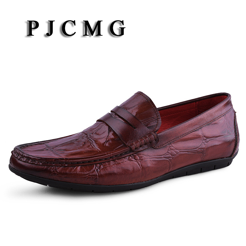 PJCMG Spring/Autumn Black/Red/Blue Slip-On Crocodile Style Casual Men Genuine Leather Moccasins Loafers Men Driving Shoes 2017 spring autumn casual genuine leather breathable men shoes han style tide fashion men manual waterproof slip on drive shoes