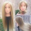 26''Blonde Profesional Styling Head Peluca Mujeres Maquillaje Peluquería Maniquí de Pie con Cabeza de la Muñeca Cabeza de Maniquí de Entrenamiento