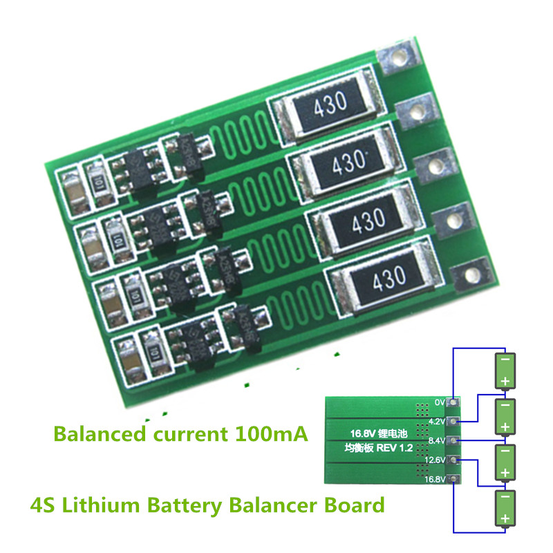 4S 100mA Lithium Battery Balance Board 18650 Li-ion Battery Balancing Board Balancer Current 14.8V 16.8